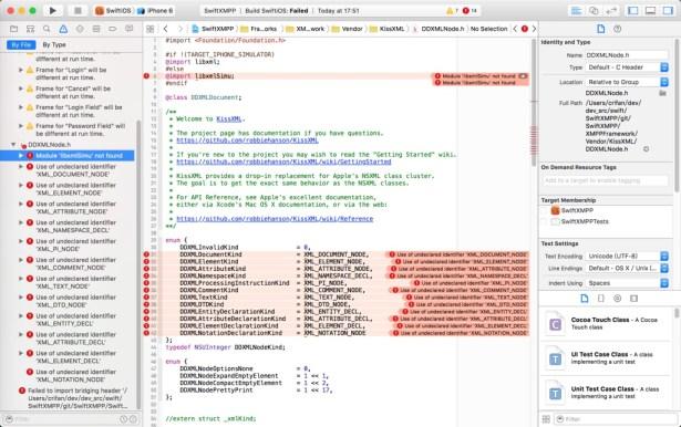 SwiftXMPP XMPPFramework KissXML DDXMLNode.h Module libxmlSimu not found