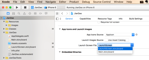 set launch screen file to launchScreen storyboard