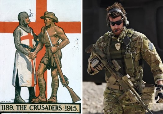 An image of Ben Roberts-Smith with crusader patch showing, and a piece of art commemorating Australian World War I soldiers (Images: Australian War Memorial; ADF)