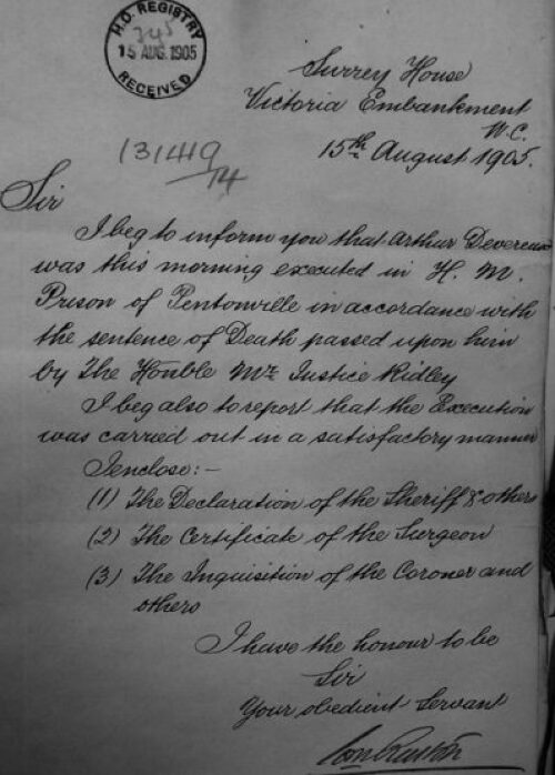 Confirmation of Devereux's execution, The National Archives