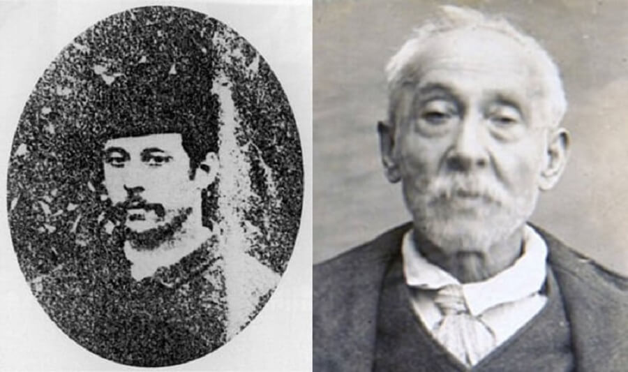 An alleged James Kelly photo from the 1880s (left) and James Kelly in a 1927 mugshot (right)