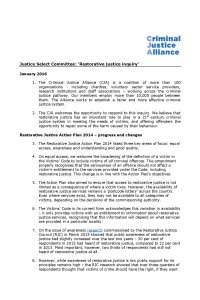 JSC Restorative Justice CJA response cover page