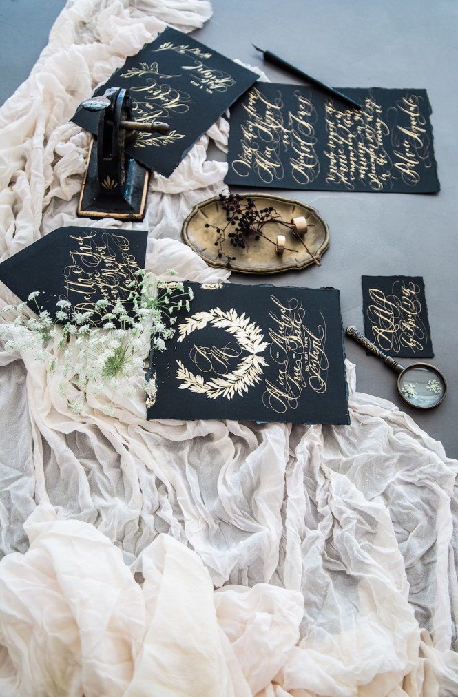 Custom Hand Painted Wedding Invitations From Crimson Letters