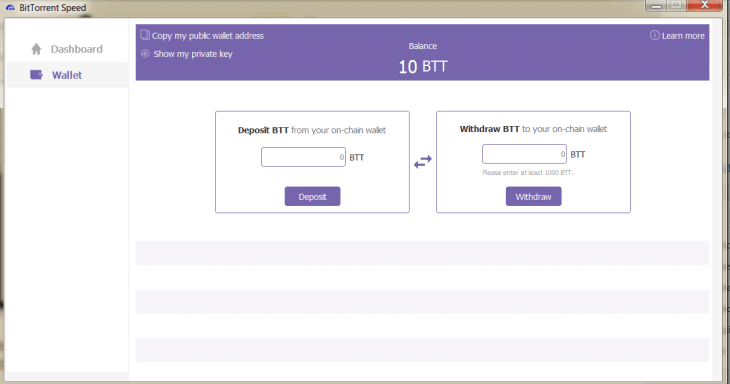 Bittorrent speed Wallet