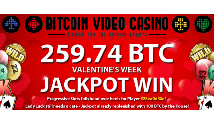 Jugador de Bitcoin Video Casino gana enorme pote de 259,74 BTC
