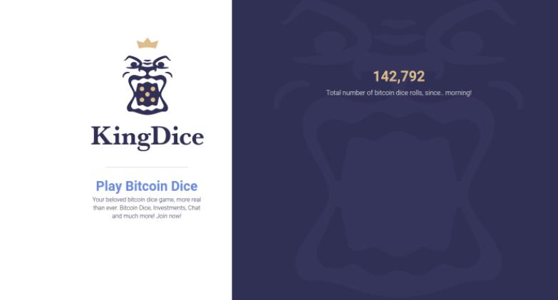 KingDice, un nuevo juego de dados Bitcoin probadamente justo ofrece grandes pagos