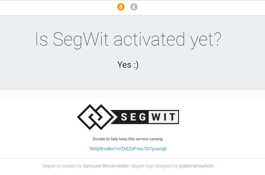 Segwit está activado. Fuente SegWit