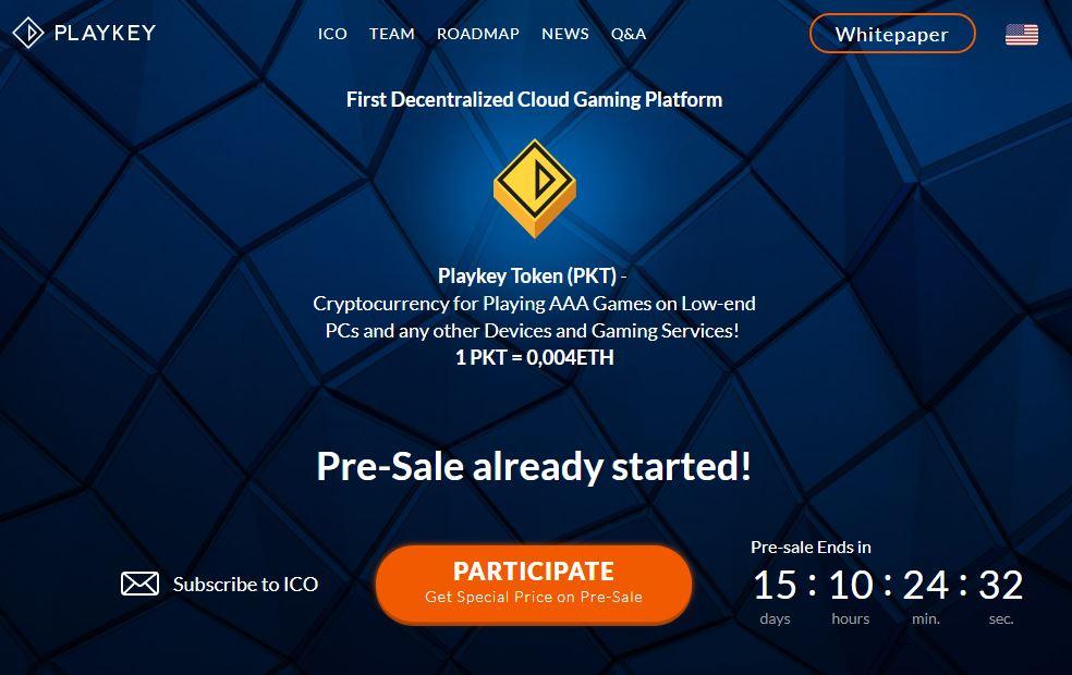 Playkey, la plataforma de videojuegos en la nube está en la etapa de pre-venta de sus tokens