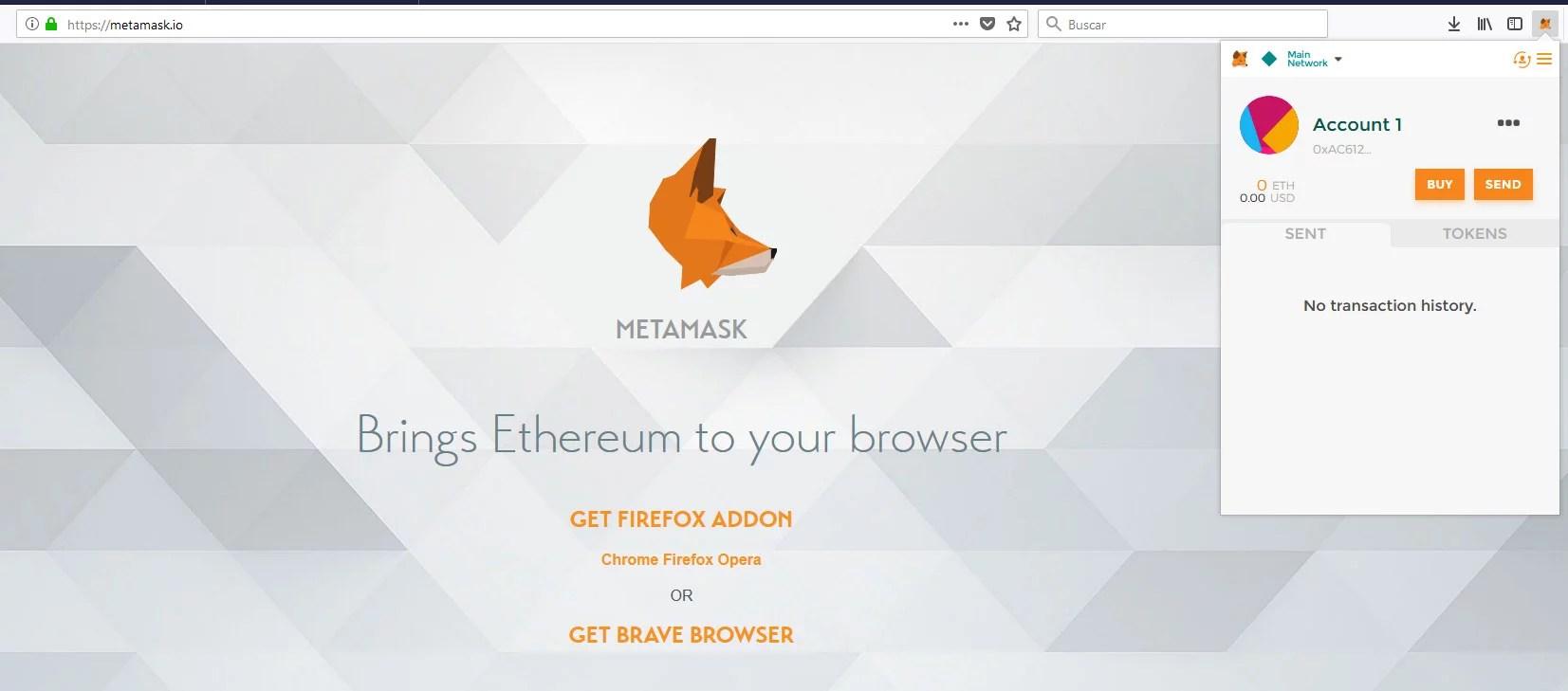 Cuenta activa de metamask