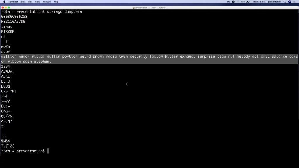 La seed mnemónica completa a la vista del hacker y con un simple comando.