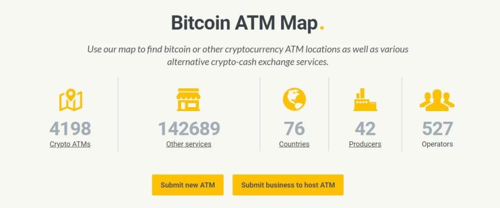 Cantidad de Cajeros de bitcoin y Cripotmonedas