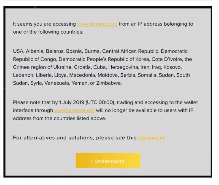 Binance DEX bloqueará usuarios de 29 países incluyendo a Venezuela