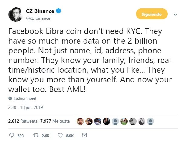 CEO de binance opina sobre La moneda LIBRA