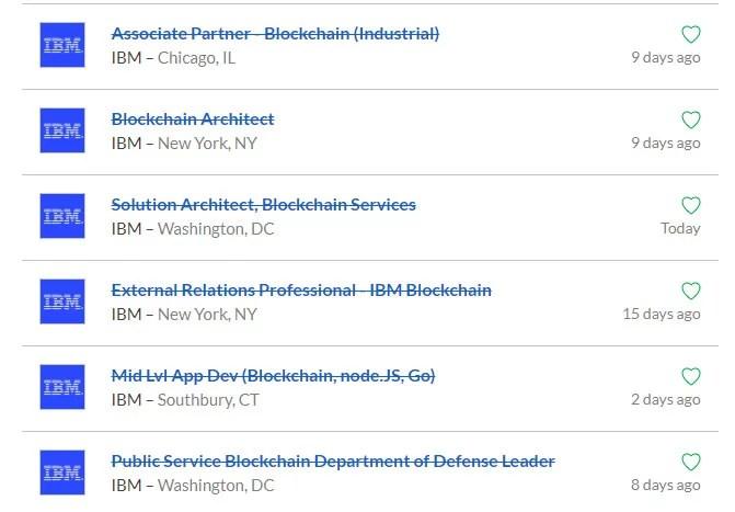 Lista de empleos en IBM para el área blockchain