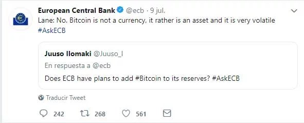 Captura de pantalla del tweet del Banco Central de la Unión Europea  sobre bitcoin