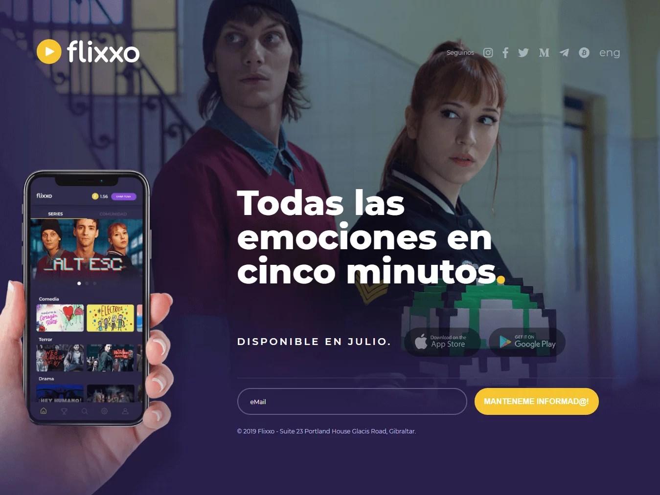 Página web de Flixxo anunciando su app móvil