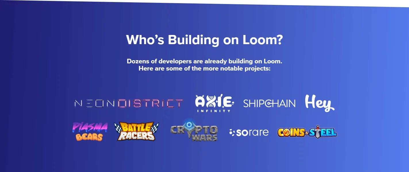 Proyectos desarrollados en la blockchain de Loom