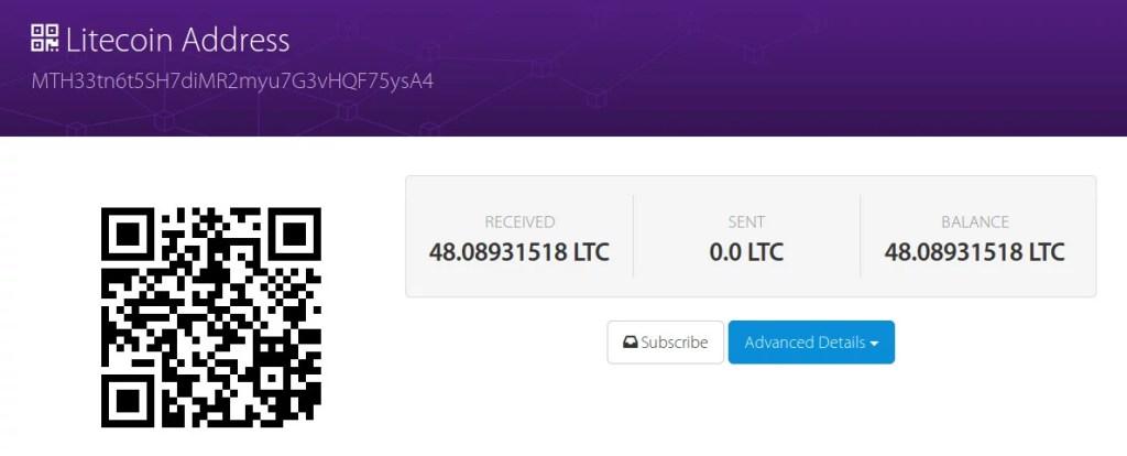 Wang address para crownfunding de la Fundación Litecoin