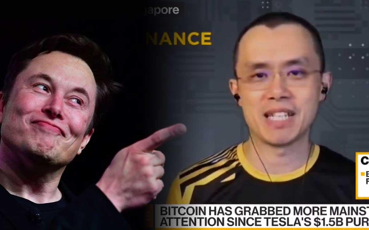 Elon Musk responde a Changpeng Zhao CEO de Binance por comentarios en relación a su apoyo a Doge y su alucinante compra de Bitcoin
