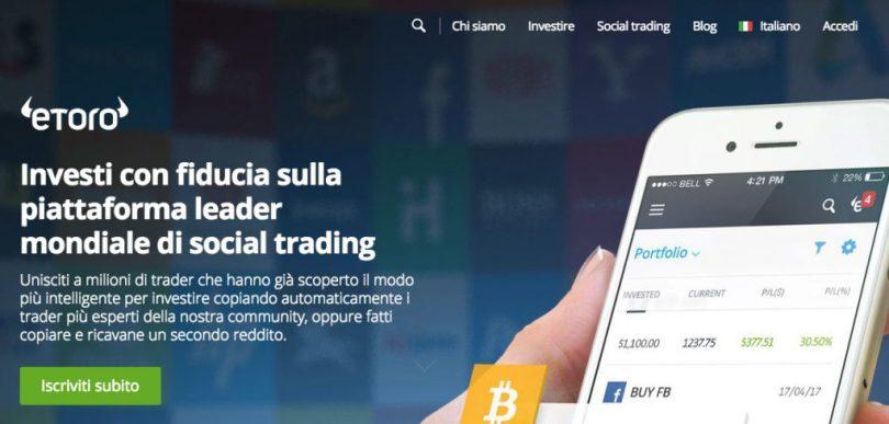 Aprire un conto di trading con eToro