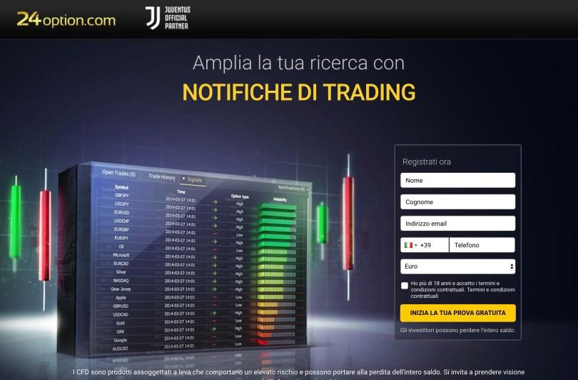 24Option Notifiche di Trading