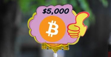 Bitcoin il livello dei 5000 dollari è vicino