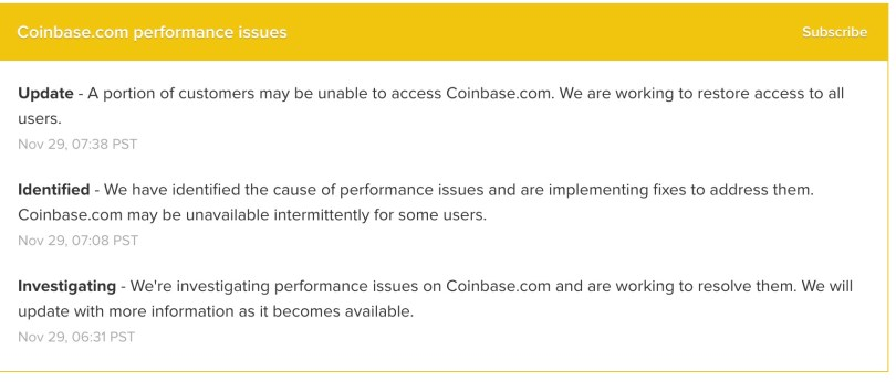 Coinbase Performance Issues
