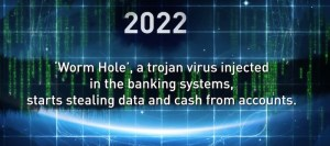2022 Worm Hole, un virus che viene inserito dentro il sistema bancario, inizia a rubare dati e denaro dai conti bancari