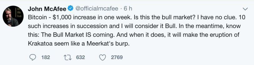Bitcoin John Mcafee 18 Luglio 2018