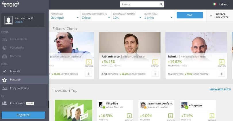 eToro Popular Investor Criptovalute