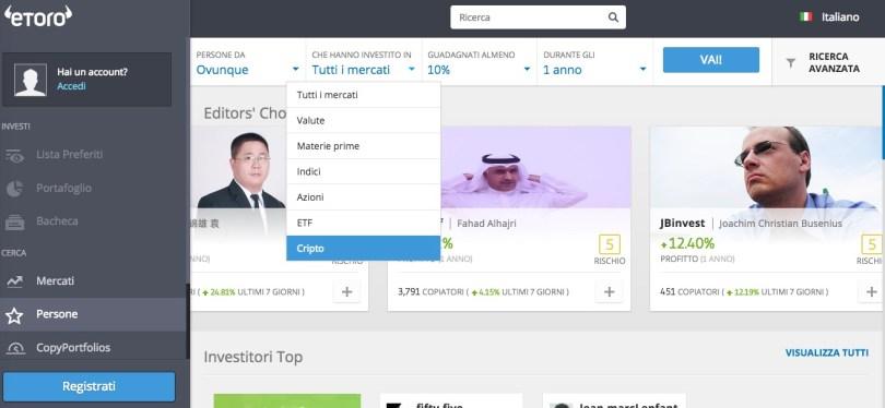 eToro Ricerca Trader
