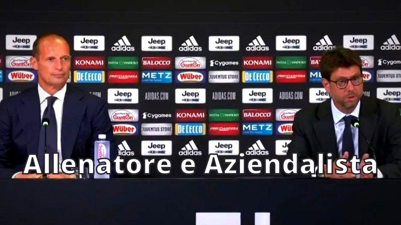 Massimiliano Allegri allenatore e aziendalista della Juventus.