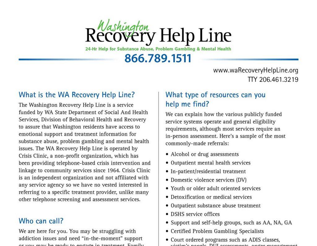 WA Recovery Fact Sheet