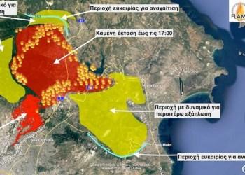 Meteo: Χάρτης πρόβλεψης εξέλιξης της φωτιάς στην Αττική