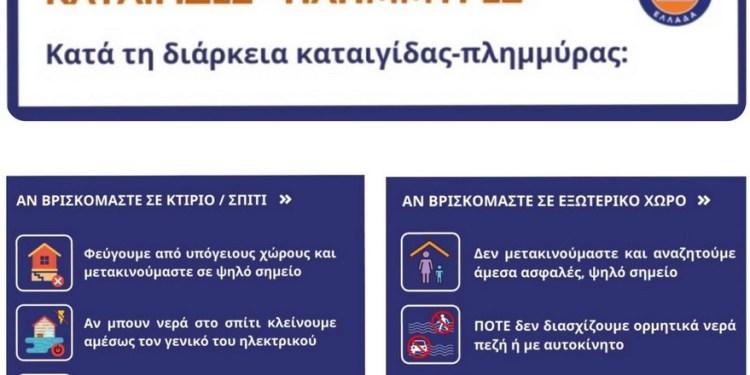 Πολιτική Προστασία οδηγίες για πλημμύρες