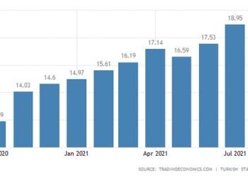 Ο πληθωρισμός των τιμών καταναλωτή της Τουρκίας αυξήθηκε στο 19,25% σε ετήσια βάση τον Αύγουστο του 2021, το υψηλότερο ποσοστό από τον Απρίλιο του 2019