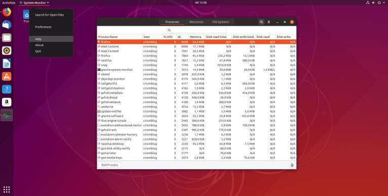 Ubuntu System Monitor - Help