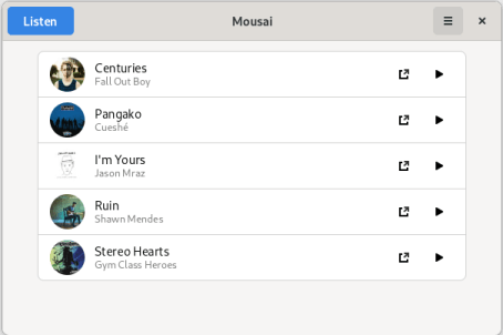 Mousai - Song List