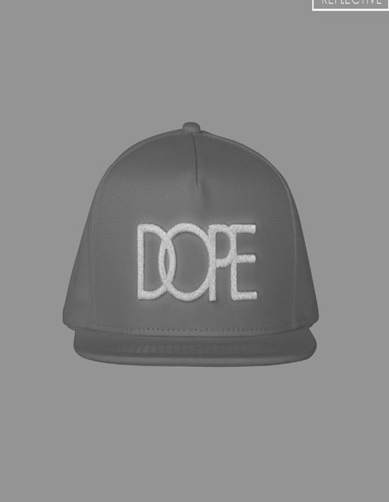 DOPE COUTURE Reflective Logo Snapback White
