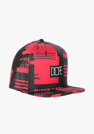 DOPE COUTURE Glitch Box Logo Snapback Red