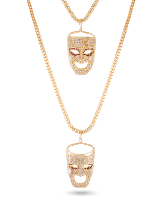 KING ICE 14K Gold Laugh Now, Cry Later Necklace Set