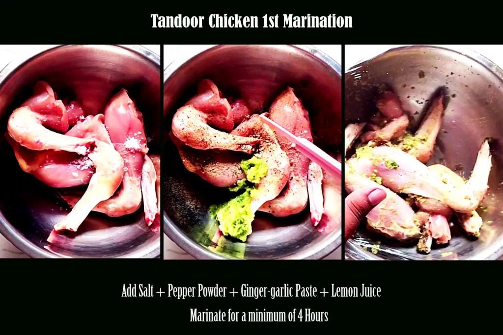 first marination of Tandoori chicken