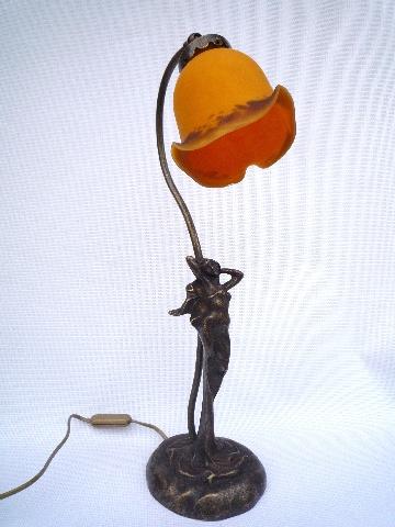 lampe pate de verre elise tulipe miel