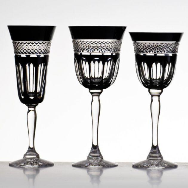 cristal de paris coffret 6 verres cristal noir collection penombre