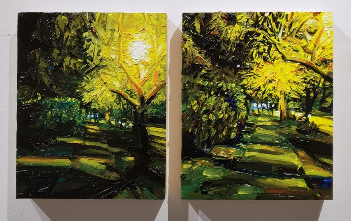 Mara Korkola, landscape city painting, lights, contemporary art, Vancouver Elissa Cristall Gallery