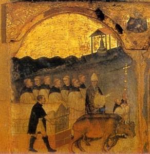 Bitino da Faenza: l'Arca col corpo di san Giuliano viene portata dal lido di Viserba al Monastero dei SS. Pietro e Paolo (ora Chiesa di San Giuliano, al Borgo)