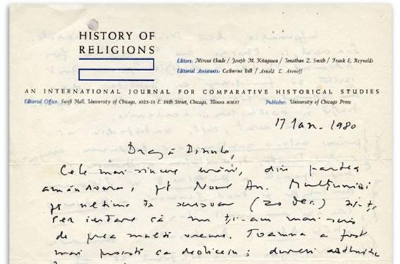 Corespondența Eliade. Mircea Eliade către Constantin Noica, 17 Ianuarie 1980. Fragment din scrisoarea scoasă la licitație în 7 aprilie 2021
