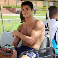 Cristiano Ronaldo Rides Skins On The Back Of A Golf Cart (Aug 7, 2012)