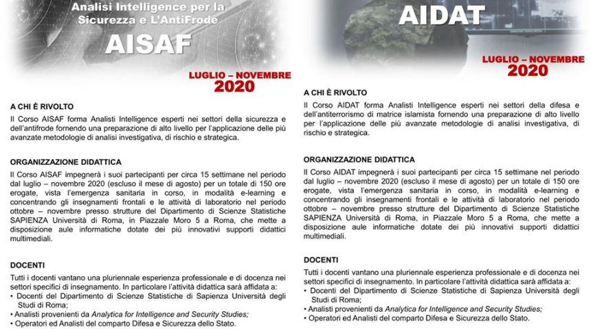 Corso di perfezionamento dell'Università La Sapienza di Roma e di Analytica for intelligence and security studies
