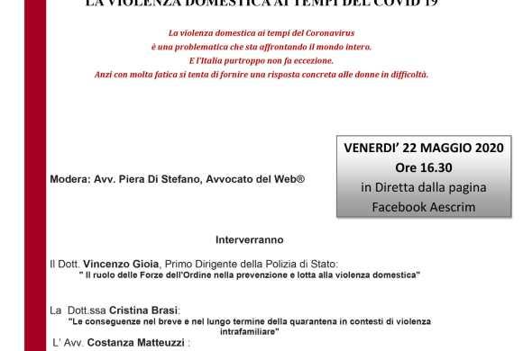 """Webinar in diretta il 21/05/2020 """"La violenza domestica ai tempi del Covid19"""""""